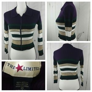 The Limited Womens Collared Zip Up Ribbed Cardigan